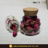 Vaso di vetro di memoria con il coperchio di legno
