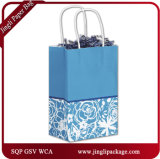 Sac de papier de clients floraux fuchsia, sac de cadeau, sac à provisions, sac de papier de cadeau