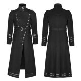 Revestimentos longos góticos do inverno do preto dos homens do uniforme militar de Y-766 Napoleon