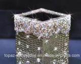 Cadre en cristal de tissu de Rhinestone de tube à mémoire de Rhinestone de support de crayon lecteur d'unité centrale d'or de collant (TB-or)