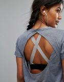 T-shirt Backless de plaine de la mode des femmes