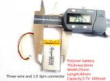 602540 batteria ricaricabile dello Li-ione del Li-Polimero di 3.7V 600mAh