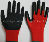 塗られるしわの乳液が付いている13のゲージポリエステル安全手袋