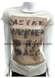 T-shirt en gros de couleur Melange pour femmes avec patch de paillettes