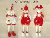 Decorazione fornita di gambe ciondolata di natale del modello della mensola delle alci del pupazzo di neve della Santa