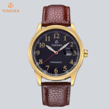 Fábrica luxuosa 72080 da venda por atacado do relógio de homens de negócio do relógio do couro do ouro do relógio de quartzo da boa qualidade