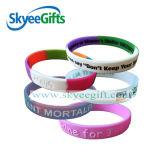 La coutume a gravé/bracelet de silicones de logo/bracelet imprimé/estampé de silicones/bracelet en caoutchouc