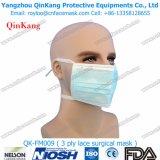 Nichtgewebte medizinische Gesichtsmaske mit Gleichheit-Wegwerfgleichheit auf Gesichtsmaske für Chirurgen Qk-FM0009