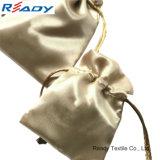 宝石類のギフトのためのカスタム金の両方側面のサテンのドローストリングの袋
