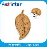 Bastone di legno di memoria del disco istantaneo USB2.0 del USB di figura di foglio