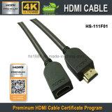 Mâle visuel de la prime HDMI de la qualité HD au câble femelle