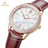 Het Polshorloge van Mej. Quartz Watch Fashion Setting Diamanten met Riem 71313 van het Leer