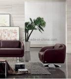 Conjuntos modernos del sofá del marco de madera del sofá de la sala de estar del sofá de cuero (UL-NS061)
