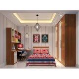 暗い木製のアパートのための穀物のメラミン長いハンドルによって蝶番を付けられる戸棚