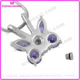 Ожерелье пурпуровой урны кремации бабочки мемориальное для зол