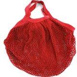 Rote Farben-mehrfachverwendbarer Lebensmittelgeschäft-Beutel, Baumwollineinander greifendrawstring-Nettobeutel