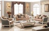 Tecido de madeira sofá antigo Love Seat e Tabela clássico Cadeira Clássica Início Sofa Set para sala