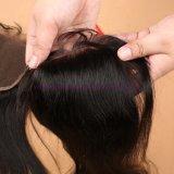 del Virgin 8A della chiusura 4X4 del Virgin dei capelli della chiusura chiusura di seta svizzera brasiliana della parte superiore della parte metà/Free/3 diritto