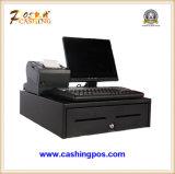 Empujar el cajón manual abierto del efectivo para la venta al por menor en caja registradora electrónica