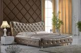 Bett des moderner Entwurfs-König-Size Button Tufted Leather (HC337)