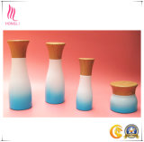 Colourful Cosmetic Glass Cream Bottle and Jar with Bamboo Wood Cap