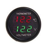 自動車のタバコのライターの二重表示LEDデジタルボルトメータの温度計