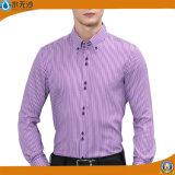 Camisa de alineada ocasional del algodón de la manera de 2017 del resorte camisas de los hombres