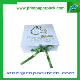 Rectángulo de joyería de empaquetado impreso aduana del regalo de lujo de la cinta