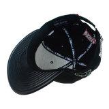 Casquillo negro del Snapback de la PU con el bordado interesante 3D
