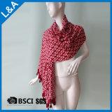 綿材料、幾何学はふさが付いているスカーフを印刷した
