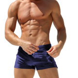 Shorts di yoga dei vestiti di forma fisica degli uomini del Drawstring del blu marino con la casella della chiusura lampo