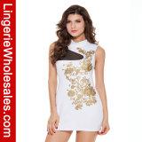 Vestito Sleeveless stampato bianco sexy delle donne breve