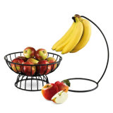 Cremagliera di verdure nera della cucina del cestino di frutta del ferro saldato con il gancio della banana