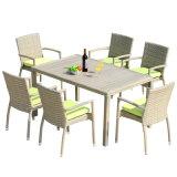 Patio-Weidenmöbel-Garten-Innenministerium-Aluminiumhölzerner Tisch-und Arm-Plastikstuhl (J818-90)