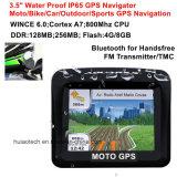 """IP65 impermeabilizzano il percorso di GPS dell'automobile della bici del motociclo con Bluetooth Handsfree, trasmettitore di FM, uno schermo di 3.5 """" TFT per il navigatore di GPS di azione di sport esterni"""