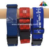 Bracelet de bagage imprimé en polyester de haute qualité de 2 po avec boucle en plastique et étiquette d'adresse