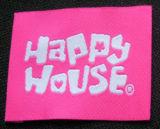 幸せなHourseのダマスク織の品質の衣類によって編まれるラベル