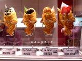 아이스크림 충전물을%s 가진 전기 물고기 케이크 기계 또는 Taiyaki