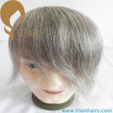 Système gris de Toupee de cheveux humains de Remy pour de vieux hommes