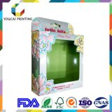Caixa de empacotamento cosmética da impressão de cor do papel de arte 4 do OEM 400g da fábrica com teste padrão quente da folha do indicador do acetato