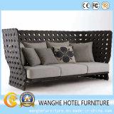 La mobilia di disegno moderno per il sofà del rattan del PE dell'hotel ha impostato con il livello indietro