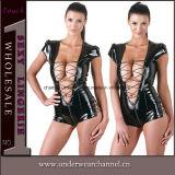 سوداء جلد سترة القفز [فولّبودي] قطّ إمرأة [بفك] ملابس داخليّة [كتسويت] ([تلم115])