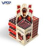 Supermercado que hace publicidad de la visualización acanalada de la paleta para las bebidas de la botella
