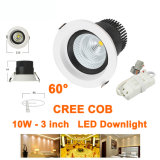 projecteurs décorés d'intérieur de l'ÉPI DEL Downlights 85-227VAC du CREE 10W angle de faisceau de 60 degrés