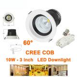 10W CREE COB LED Downlights 85-227VAC Indoor Decorated Spotlights 60 Degree Beam Angle