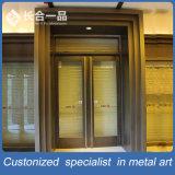 Porte en acier inoxydable en bronze vert personnalisé pour bâtiment commercial