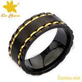 Streptokok-011 Black met de Trouwringen van het Roestvrij staal Gold voor Women