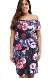 Taille positive sexy outre de la robe florale de Bardot d'épaule