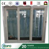 Drei-Schärpe UPVC Plättchen-Glas-Tür mit Vorhängen nach innen für Haus