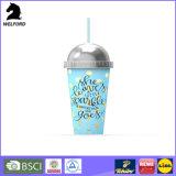Doppel-wandige kundenspezifische Plastikkaffeetasse mit Strohen
